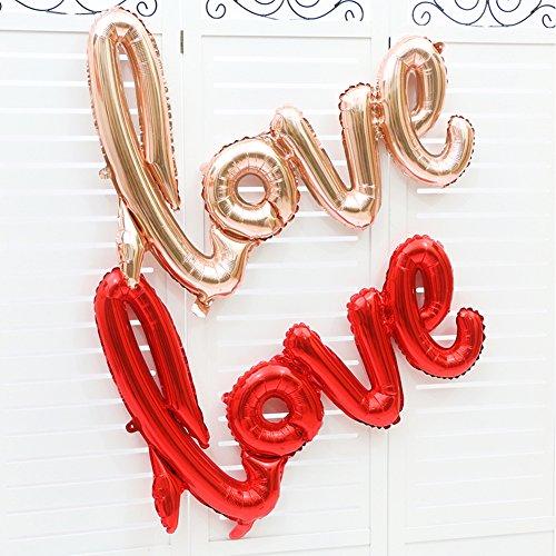 Coscelia LOVE Luftballons Folienballon Hochzeit Party Deko Buchstabeballons- Sekt - - 3