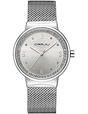 modiwen Diamond Stahlgeflecht wasserfest Frauen Armbanduhren mit Quarzwerk Damen Kleid Uhren Freizeit Armbanduhr...