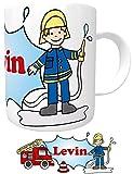 Kilala Kinder-Tasse Feuerwehr mit Wunschname Namenstasse Feuerwehrmann Feuerwehrauto Geburtstags-Geschenk Löschzwerge