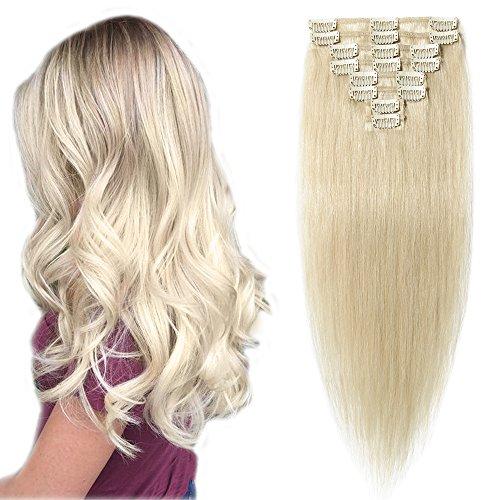 Extension capelli veri clip biondi hair extensions naturali 8 fasce con clips full head umani lisci 60cm/80g #60 biondo platino