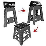 One Step Folding Plastic Stool | Portable Fold Up Footstool for Kitchen, Bathroom, Toilet, Caravan | for Children, Kids, Adult | Collapsible, Non Slip - Large - Grey
