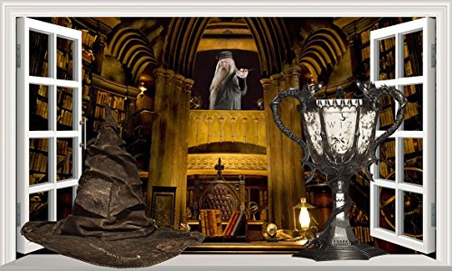 Harry Potter Hogwarts Professor Albus Dumbledore Büro Sortierung Hut und Triwizards Cup Kelch Feuer 3D Magic Window V333 Wall Sticker Wall Sticker Wall Art Größe 1000 mm breit x 600 mm tief (groß) V2
