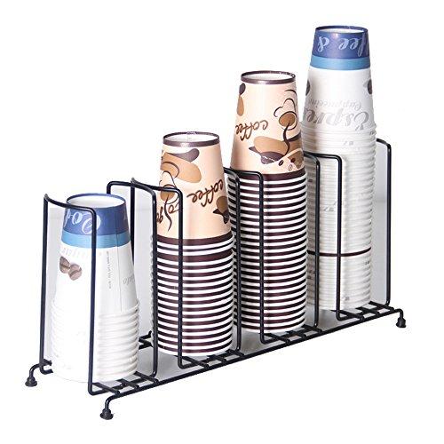 mylifeunit 4Fächer Draht Rack Kaffee Tasse Spender und Deckel Halter, 18–1/5,1cm Länge x 8–1/5,1cm Höhe x 12,7cm Breite (Die Draht-kaffee-tasse)