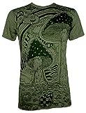 SURE T-Shirt da Uomo - Fungo dei Sogni Taglia M L XL Arte Psichedelica Yoga Esoterik Canapa Funghetti (L, Verde Oliva)