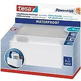 tesa Powerstrips Duschregal wasserfest / Selbstklebender Halter aus rostfreiem Edelstahl und Kunststoff für die Dusche / Bis 3 kg / Rückstandslos entfernbar / 1 Stück