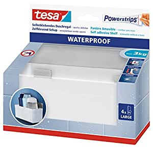 tesa 59711 waterproof powerstrips rectangular plastic shower basket self adhesive and removable. Black Bedroom Furniture Sets. Home Design Ideas