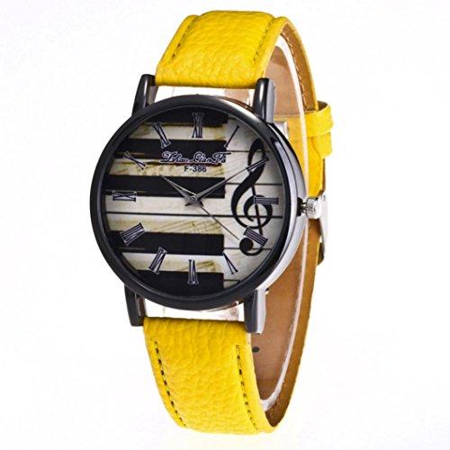 Ouneed® Uhren , 2017 Art und Weisefrauen Leder Band Bügel Klavier Anmerkungs Druck Quarz Armbanduhr (Gelb)