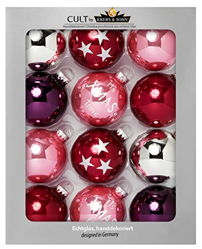 Heitmann deco krebs & sohn set di 12 palline di natale in vetro - albero di natale deco appeso - palle di natale 8 cm - rosso rosa argento