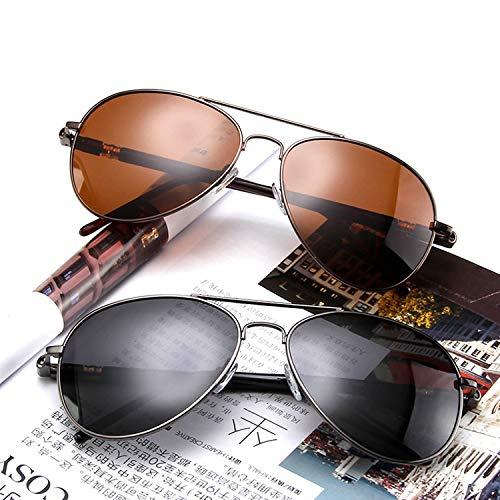 Xiaochou@sl UV 400 Protection - Aviator Sonnenbrillen Herren Polarisierter Spiegel Mit Etui klar (Color : Brown Frame)