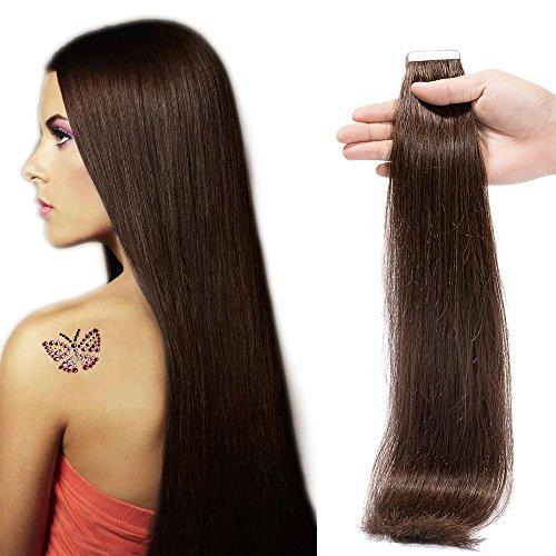 Extension adesive capelli naturali lunghi #2 castano scuro 100% remy human hair lisci umani 30cm 12