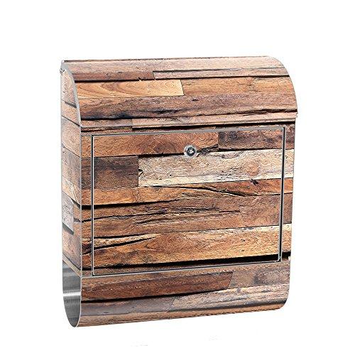 liwwing Briefkasten Edelstahl mit Motiv und Zeitungsfach, Zeitungsrolle als XXL Design Wandbriefkasten | Holz Steinoptik Holz Mauer Holz | no. 0174