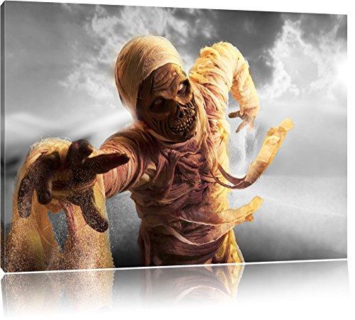 hungrige Mumie greift an schwarz/weiß Format: 120x80 auf Leinwand, XXL riesige Bilder fertig gerahmt mit Keilrahmen, Kunstdruck auf Wandbild mit Rahmen, günstiger als Gemälde oder Ölbild, kein Poster oder Plakat