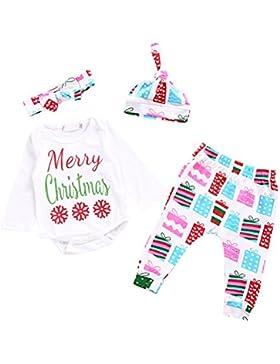 PanDaDa 4 Pezzi I Capretti dei Vestiti di Natale delle Ragazze dei Neonati dei Neonati Regolano i Pantaloni Lunghi...