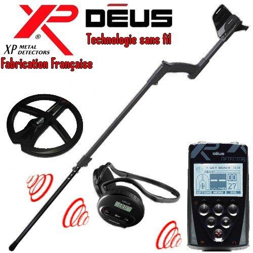 Xp Metal Detectors - Détecteur De Métaux Deus Full 1- Technologie Sans Fil - Télécommande - Casque Ws4 - Disque Dd 22 Cm Avec Protège Disque - Canne Télescopique En S
