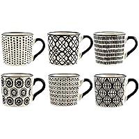 H&H H & H vhera Juego 6Tazas Té, Stoneware, Blanco/Negro, 220ml