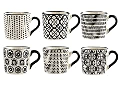 Idea Regalo - H&H Vhera Set 6 Tazze Tè, Stoneware, Bianco/Nero, 220 ml