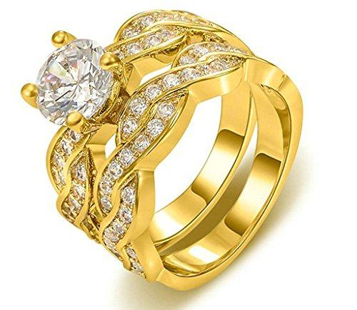 Gnzoe Gioielli, Placcato Oro Cubic Zirconia Anniversario Nuziale Matrimonio Banda Fidanzamento Anelli Sets