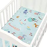 Organic Cotton Fitted Crib Sheet, Yeldou Soft Cotton Toddler Sheet Breathable Hypoallergenic Mattress