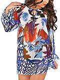 jowiha Bunte Strand Tunika Sarong Strandkleid mit Gürtel aus Chiffon mit Muster Artistic Einheitsgröße XS-M