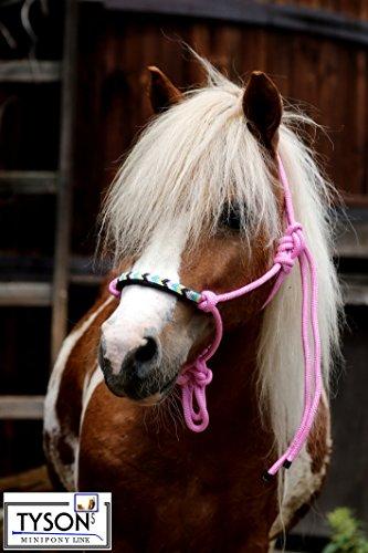 Knotenhalfter Shetty Nasenriemen Perlen Deko Schwarz Braun Rosa Lila Rot Blau Tysons Knoten Halfter geknotetes Gr. Shetty/Welsh Pony (Rosa) -