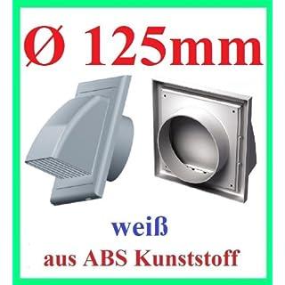 MKK Lüftungsgitter Abluft Zuluft Abzugsverkleidung Rückstauklappe Ø 125 mm ABS weiß Aussenhaube