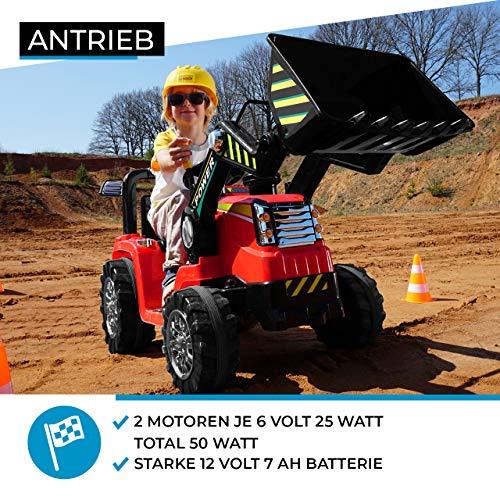 RC Auto kaufen Kinderauto Bild 5: Kinder Elektrobagger mit 2 x 25 Watt Motoren Elektro Bagger Kinderauto Kinderfahrzeug Spielzeug für Kinder Kinderspielzeug (Gelb)*