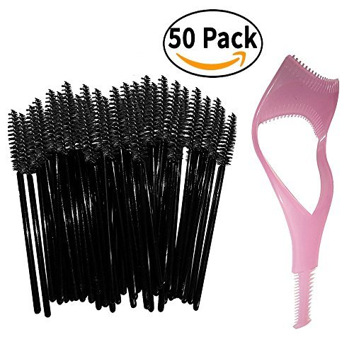 Jetable Cils Mascara Wands Brush Set - Noir - GRATUIT Mascara Shield Applicateur Guard Guide Comb & Beauté eBook - Haute Qualité Cils Spoolies Extension applicateurs. 50 pc pack vrac - Kit de maquillage d'outils pour Professional MUA - Par New8Beauty