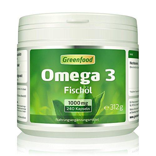 Greenfood Omega 3 Fischöl (hochdosiert, Ohne künstliche Zusätze, Ohne Gentechnik, 1000 mg), 240 Kapseln