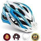 Shinmax Specialized Bike Helm mit Sicherheitslicht, Verstellbare Sport Fahrradhelm Fahrrad Fahrradhelme für Road & Mountain Biking, Motorrad für Erwachsene Männer und Frauen, Jugend - Racing, Sicherheit Schutz (Blau Weiß-Großes Licht)