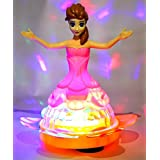 Blossom Dream Princess Doll Unique Rotating Lightning Ball With Dazzling Light Effects,Dynamic Music & Omni Directional Fun Toy For Girls Of Age 3 And Above, Multi Color