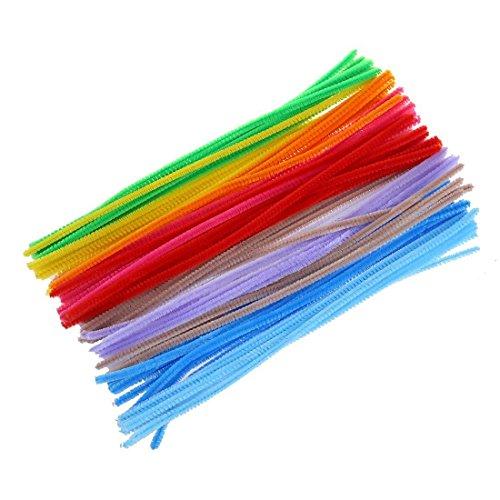 Sungpunet Lot de 100 fils chenille/cure-pipes pour loisirs créatifs Artisanat Art Couleurs assorties (6x 300mm, Multicolore)