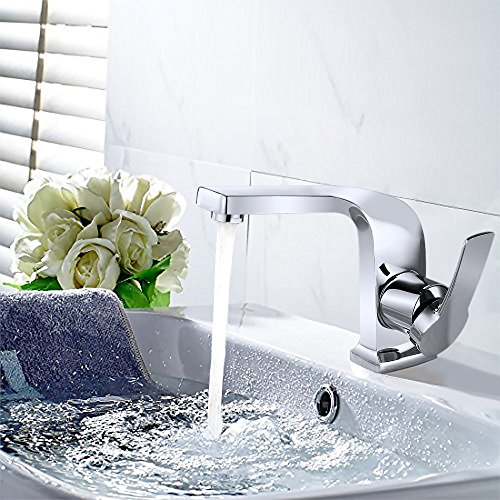 Homelody - Einhebel-Waschbeckenarmatur, ohne Ablaufgarnitur, Curved-Design, Chrom