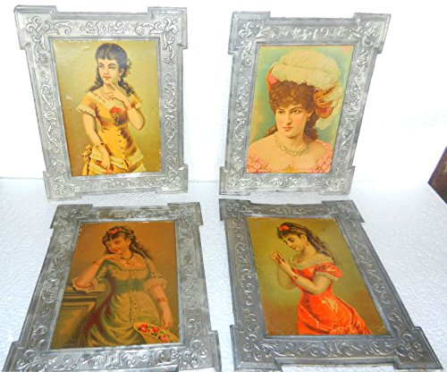 4 Vintage Victorian Lady Print In Original Tin Embossed Frame ADV EHS