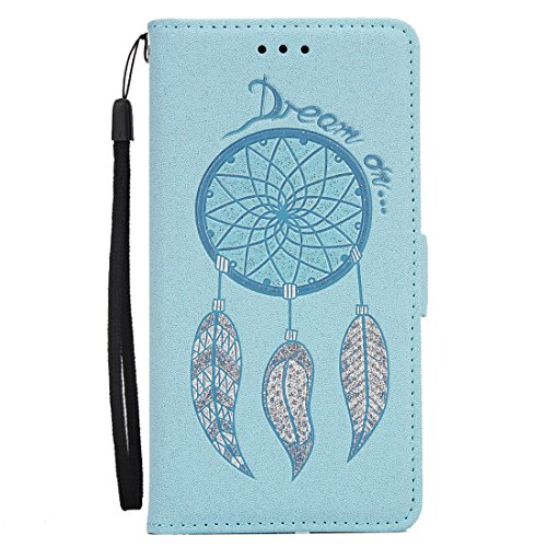 iPhone 5S/5/SE Flip Wallet Case, SOUNDMAE Wind Bell Pattern PU Leather Flip Wallet Cover Shockproof Full Body Protector with Card Slot, Cash Pocket Wallet for iPhone 5S/5/SE (Blue) Blue