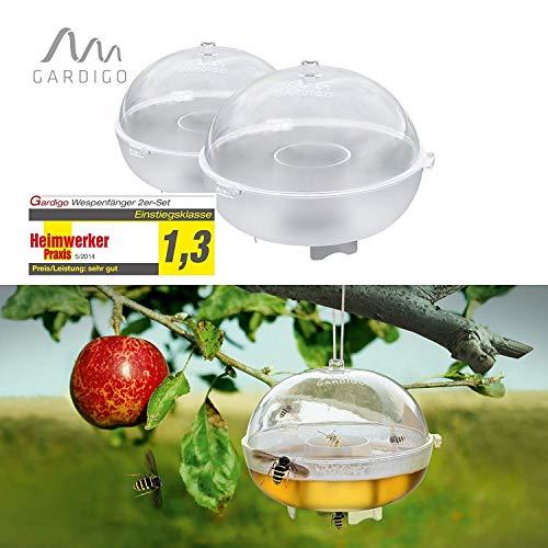 Gardigo Wespenfalle 2er Set I Fruchtfliegenfalle und Wespenfänger aus Kunststoff I Fliegenfalle, Insektenfalle ohne Gift I Made in Germany