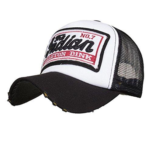 ren und Damen, Gestickte Sommer-Kappe Mesh-Hüte für Männer-Frauen-zufällige Hüte Hip Hop-Baseballmützen| Basecap, Baseball Cap, verstellbar (Schwarz) ()