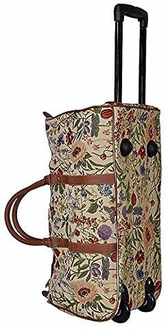 Trolley Blume hell mit ausziehbarem Griff Reisetasche Rollen Henkel Tapisserie Gobelin Royaltex Signare Reise Tasche Gepäck Fa.