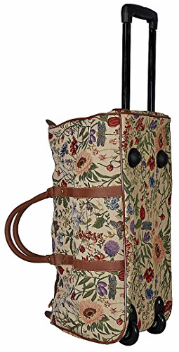 Trolley Reisetasche aus Web-Stoff Gobelin Signare Tapisserie Fa. Bowatex (Blume hell)