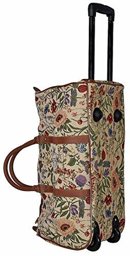 Trolley Reisetasche Gobelin-Stil Signare Handgepäck Reise Tasche Gepäck Urlaub V Fa. Bowatex (Katzenfamilie) Blume hell