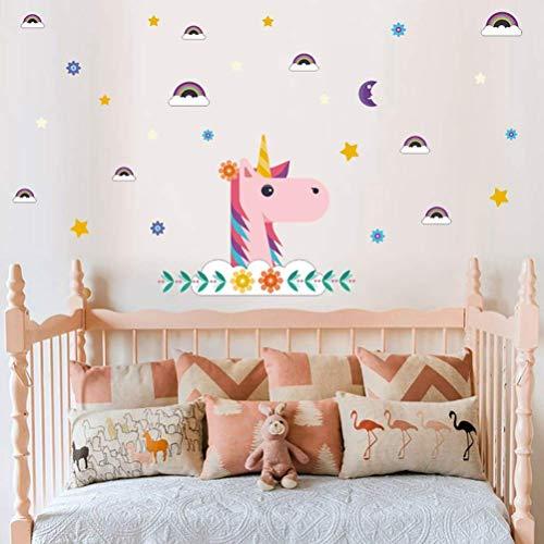 Sayala Decoración cumpleaños Unicornio - Decoración Infantil de Pared, Unicornio impresión Bling...
