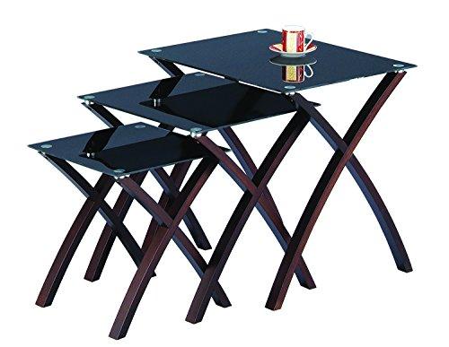 ASPECT Miami Lot de 3/3/3 gigognes Table en Verre trempé Noir, Pieds en Bois Massif wengé (Finition en Acajou)