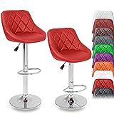 TRESKO Set di 2 Sgabelli-Bar moderni, Sedia Bar, Sgabello Lounge con schienale, 10 colori diversi, cromato, rotazione libera a 360 °, la regolazione in altezza dei sedili 60,0 - 80,0 cm (2x rosso)