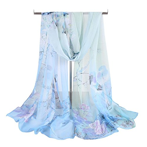 Kavitoz Fashion Women Long Soft Wrap scarf Ladies Shawl Chiffon Scarf Scarves Choice of Colours (Light Blue-C)