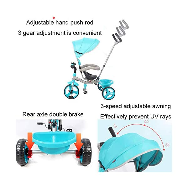 BGHKFF 4 In 1 Children's Hand Push Tricycle 10 Months To 6 Years 360° Swivelling Saddle Children's Pedal Tricycle Folding Sun Canopy Adjustable Handle Bar Child Trike Maximum Weight 25 Kg,Blue  ★Material: High carbon steel frame, suitable for children from 10 months to 6 years old, the maximum weight is 25 kg ★ 4 in 1 multi-function: can be converted into a stroller and a tricycle. Remove the hand putter and awning, and the guardrail as a tricycle. ★Safety design: golden triangle structure, safe and stable; front wheel clutch, will not hit the baby's foot; guardrail; rear wheel double brake 7