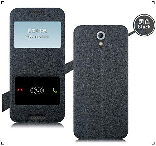 Original Pudini® Graish Black Colour Double Window Flip Case For HTC Desire 620 G