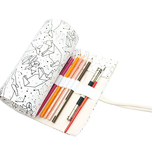 72 Löcher Konstellation Canvas Roll-up Pouch Pencil Case Sketch Brush Bag Pencil Case Bulk billig, Canvas, 72 ()
