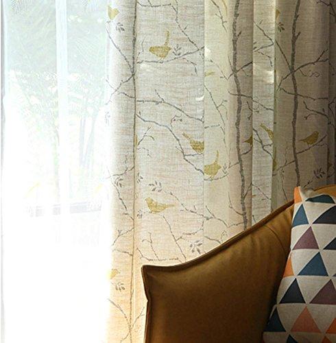 TINE HOME CURTAINS Vorhänge und Vorhänge Verdunkelungsvorhänge Gelb-Grau Drucken Tüllvorhänge Zum Fensterdekorationen Fertiges Produkt Wohnzimmer Tülle oben Ein Panel, 1pc(300*270 cm (Grau Gelb-vorhang-panels Und)