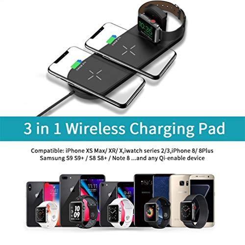 YOUXIU Wireless Charger 10W Schnellladesensor 3 in 1 Multifunktions-Handy-Ladegerät Für iPhone XS Max/XR/XS/X/8/8 + Galaxy S10/S10+/S10 E/S9/S9+/Note 9/8/5,White (Iphone 6 Portable Back-up-ladegerät)
