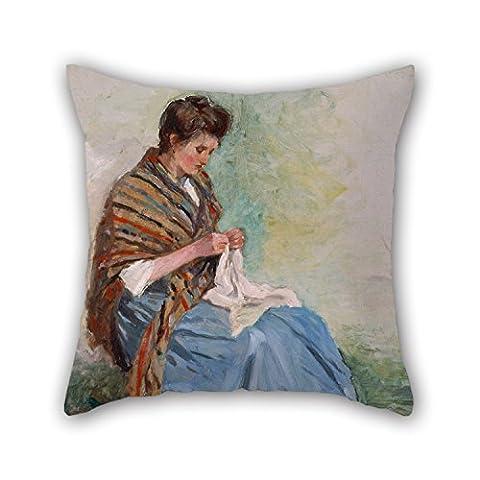 Taies d'oreiller de peinture à l'huile Asai Chu-Woman Couture, pour le bureau, adolescents, chambre à coucher, intérieur, canapé, Home Cinéma 45,7x 45,7cm/45par 45cm (Twin sides)
