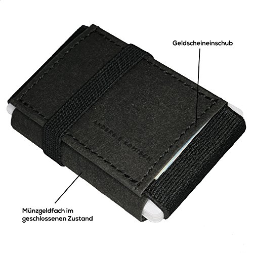 ANDERS & KOMISCH Hochwertiger Mini-Geldbeutel für Herren & Damen mit Münzfach – schwarz, veganes Leder, 9 x 5,5 cm klein - 3